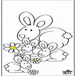 Ausmalbilder Tiere - Vier Kaninchen