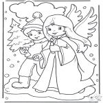 Malvorlagen Winter - Wandern im Schnee