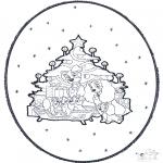 Ausmalbilder Weihnachten - Weihnachts Stechkarte 1