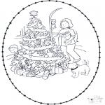 Ausmalbilder Weihnachten - Weihnachts Stickkarte 5