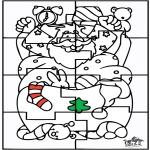 Ausmalbilder Weihnachten - Weihnachtsmann Puzzle