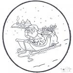 Basteln Stechkarten - Weihnachtsmann Stechkarte