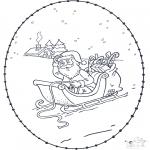 Basteln Stickkarten - Weihnachtsmann Stickkarte 1