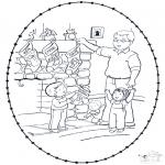 Basteln Stickkarten - Weihnachtssocken