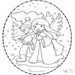 Ausmalbilder Weihnachten - Weihnachtsstickkarte 12