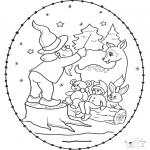 Ausmalbilder Weihnachten - Weihnachtsstickkarte  13