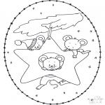 Ausmalbilder Weihnachten - Weihnachtsstickkarte  15