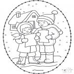 Ausmalbilder Weihnachten - Weihnachtsstickkarte  16