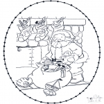 Basteln Stickkarten - Weinachtsmann Stickkarte 2