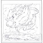 Ausmalbilder Tiere - weisser Delfin