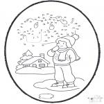 Malvorlagen Winter - Winter Stechkarte 1