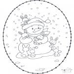 Malvorlagen Winter - Winter Stickkarte 1