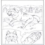 Ausmalbilder Tiere - Wolf in der Schnee