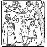 Bibel Ausmalbilder - Zacheus und Jesus