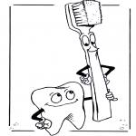 Allerhand Ausmalbilder - Zahn und Zahnbürste