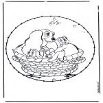 Basteln Stickkarten - Zeichentrickfigur Stickkarte 4