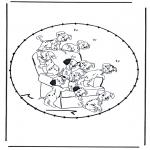Basteln Stickkarten - Zeichentrickfigur Stickkarte 7