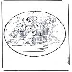 Basteln Stickkarten - Zeichentrickfigur Stickkarte 8