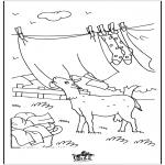 Ausmalbilder Tiere - Ziege mit der Wäsche