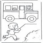 Ausmalbilder für Kinder - Zu dem Schulbus