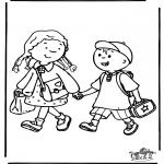 Ausmalbilder für Kinder - Zur Schule 3