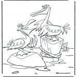 Ausmalbilder Tiere - zwei Pelikane